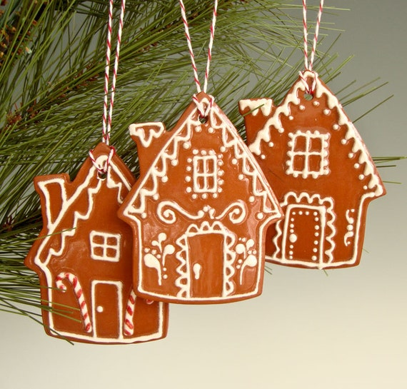 THREE Gingerbread House Ornaments with White Icing and  Bakers Twine made from clay