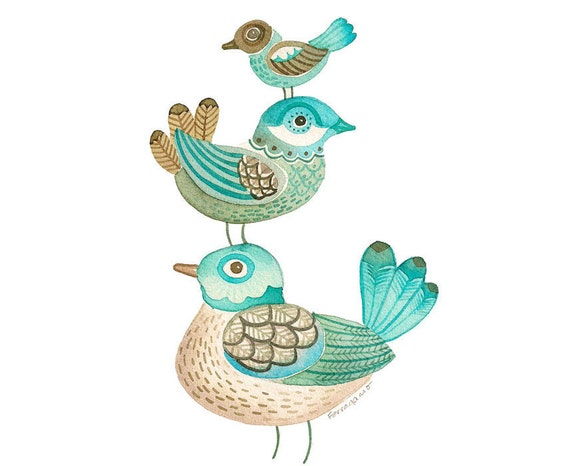 Bird Print, from an Original Watercolor, 3 Birds in Turquoise and Brown, Original Art