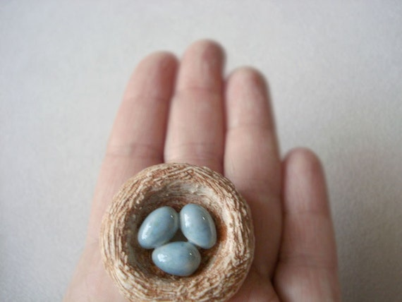 Bird Nest with Eggs, Porcelain Sculpture