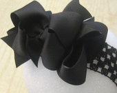 Large hairbow, Big Hair Bow, Boutique Hairbows, Girls Hair Bows, Boutique hair bow, Black Bows, Big Black Hairbow, Black Baby Headbdand