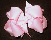Boutique hair Bows, Pink Hairbow, Girls Big Bow, Light Pink Layered Hair Bow, Baby Bows, Toddler Hair Bows, 4 5 inch bows, Double Hair Bows