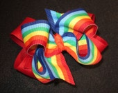 Girls hairbows, Rainbow hair Bow, Boutique Hair Bows, Layered Bow, Baby Girls Big Bow, large hairbows, Striped Bow, Summer Hairbows, Red Bow