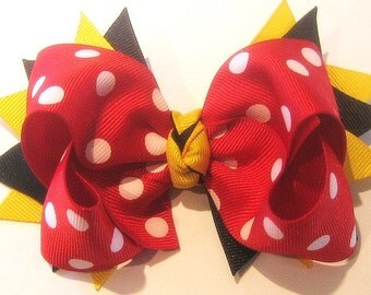 Minnie Mouse Inspired Disney Magical Boutique Hair Bow 2 Layers of Ribbon and Spikes 5 inch Hairbow
