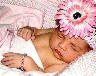 baby headband, girls flower headbands, headbands for infants, gerbera flower clippie, flower hair bow, Set of 5, photo prop, 1st birthday