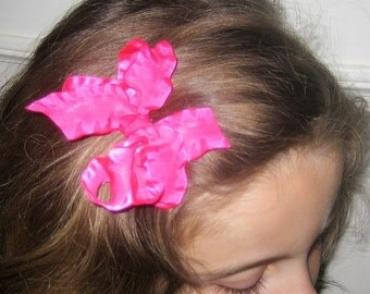 LOT SET of 4 Double Ruffle Satin Dainty Small Hair Bows You Pick Colors 3.5 inch Baby Hairbow