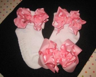 Pink Socks, Double Ruffle Socks, Hair Bow Set, Baby Sox, Pink Toddler Socks, Little Girls sox, Frilly Socks, Ruffled sox, Pink Bows