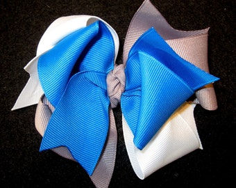 Detroit Lions Football Hair Bow Triple Layers of Loops and Twirls Large