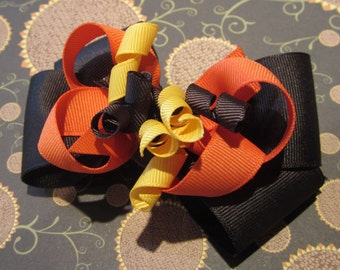 Thanksgiving Fall Leaves Boutique Korker Hair Bow Turkey Day Autumn Hairbow