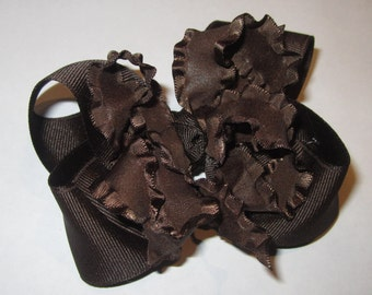Double ruffle hair Bow, Girls Ruffle hairbows, Hair Bows, hairbows, Boutique Hair Bows, Brown hair Bows, Toddler Hair Bows, Baby headbands