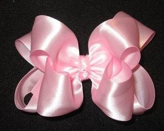 Baby Pink Satin Hair Bow, Pink Satin Hairbow, Satin Hair Bows, Boutique hairbows, Girls Hairbows, Girls Satin Hair Bow, Baby Headbands,