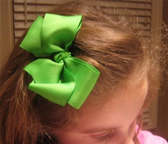 Boutique Hair Bows - Girls Hair Bows, Big Bows - Lot Set of 10 Hairbows - 5 inch Bows, Large CHUNKY Hair Bows, Wholesale Hairbows -