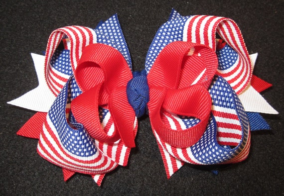 American Flag Boutique Hair Bow 3 Layers of Red, White & Blue Patriotic Ribbon and Spikes Hairbow