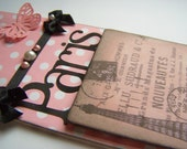 Vintage Look French Shabby Chic Paris Eiffel Tower Doorknob Hanger Pink and Black