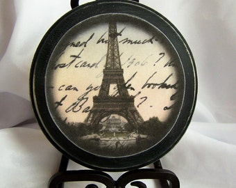 Vintage Artwork, French Decor, Eiffel Tower, Paris France, Black, Cream, Wall Decor, Bedroom Decor, Shabby Chic, Gift for Her, Gifts for Him
