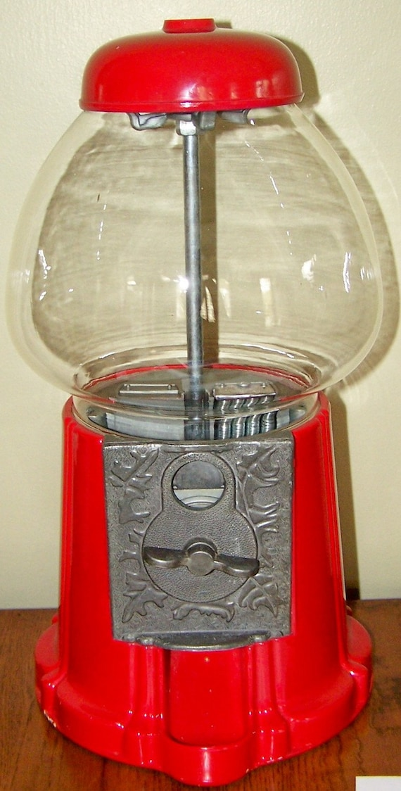 Vintage Gumball Machine Red by antiqueorvintagenew on Etsy