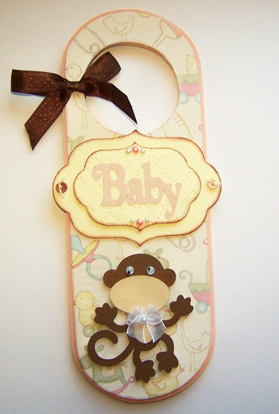 SALE FREE SHIPPING Doorknob Hanger Door Sign Baby Girl Monkey Doorknob