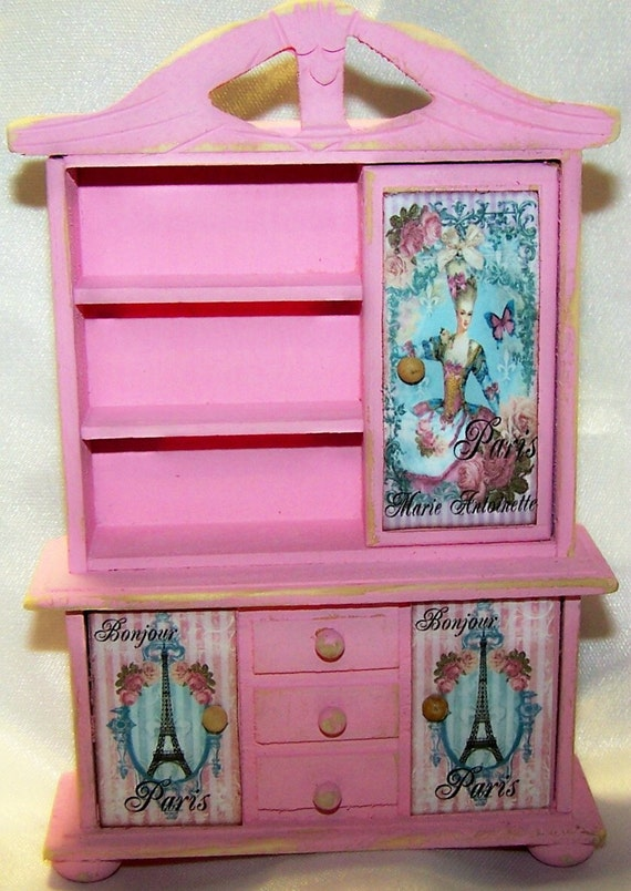 FREE SHIPPING Marie Antoinette and Eiffel Tower Dollhouse Furniture Miniature Furniture