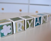 Bright and White II - Teal Green and Yellow Childrens Blocks - Set of 6 - Nursery Decor - Birthday Gift