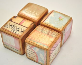 Bookstore Antique Inspired Childrens Blocks- set of 6