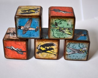 Vintage Airplane Childrens Blocks Set of 10 Childrens Blocks You're It Kids Room Decor