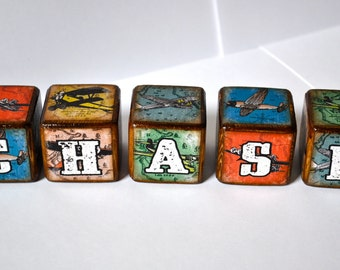 Room Decor Blocks Vintage Airplane Childrens Blocks Set of 5 Childrens Blocks By You're It Kids