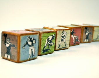 Football Blocks - Room Decor - Wooden - Vintage Inspired Football Childrens Blocks - Set of 6 - You're It Kids - Football theme