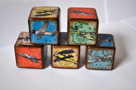 Room decor blocks vintage airplane childrens blocks set of 4 Vintage childrens room decor