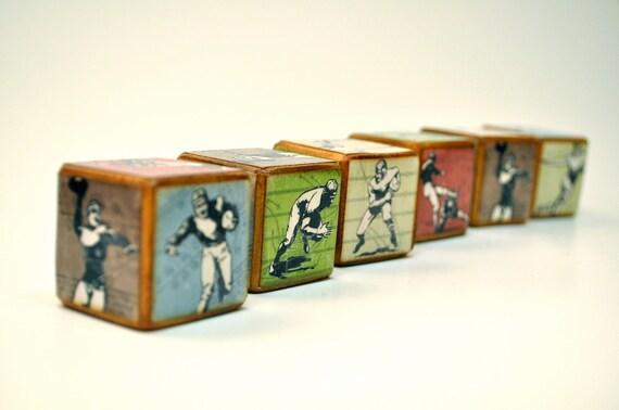 Football Blocks - Room Decor - Wooden - Vintage Inspired Football Childrens Blocks - Set of 6 - You're It Kids - Football theme