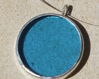 Blue Glass and Silver Necklace