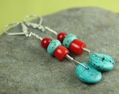 Turquoise Coral Silver Dangle Earrings, Sterling silver Lever Backs, long dangle earrings, handmade by art4ear, free shipping in Canada
