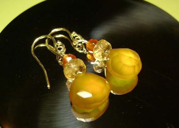 Earrings / Chalcedony  / Butterscotch and honey colors/ with citrine and carnelian / french style ear wires in vermeil