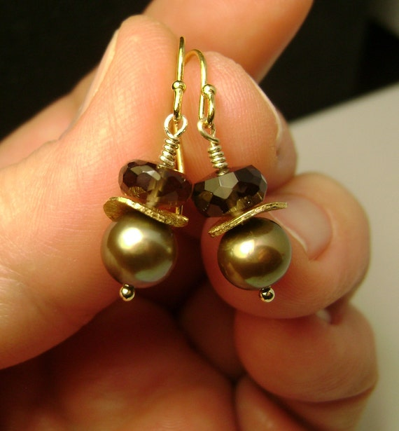 Pearl Earrings / Golden Pearls with Smoky Quartz / French Hook / Vermeil sterling silver electroplated with gold