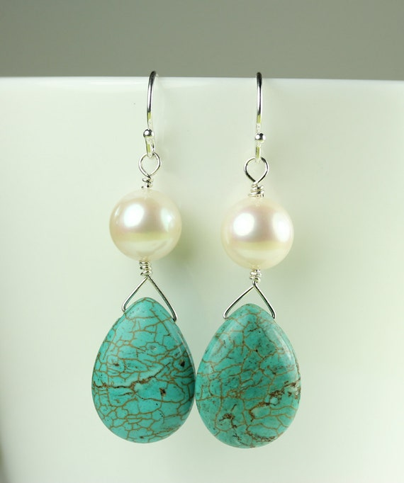 Earrings / Pearl and Turquoise Wire Wrapped with Sterling Silver / French Hooks