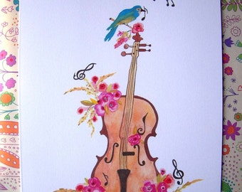 Cello with Peonies