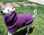 Italian Greyhound English Style Fleece Dog Coat Plum