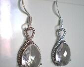 Bohemian Bridesmaid Earrings - Crystal Earrings - Silver Earrings - Czech Glass - Bridal Earrings - Wedding - Marilyn