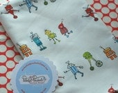Robot Red Rover, original fabric design by Pocketful of Pinwheels, 1 YARD