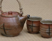 Salt fired teapot set, Galaxy