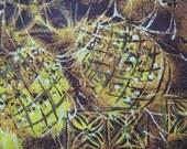 Vintage Hawaiian style cotton napkins brown gold pineapple 6