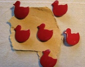 Vintage plastic Cherry Red duck buttons six (6)