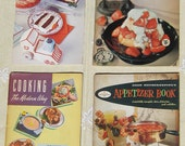 Four paperback cookbooks from 1948, 1958, 1964 appetizers, quick, Sara Lee, Planters Oil, Good Housekeeping