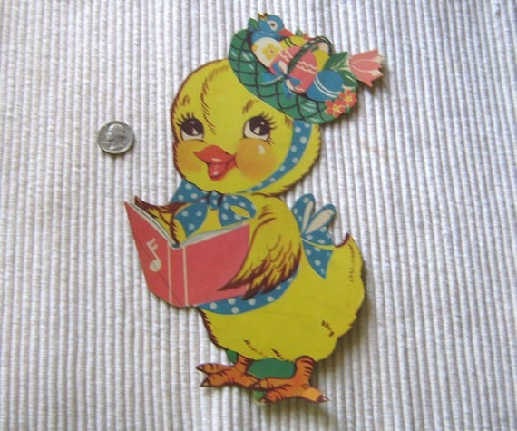 Vintage Easter chick with bonnet cardboard decoration