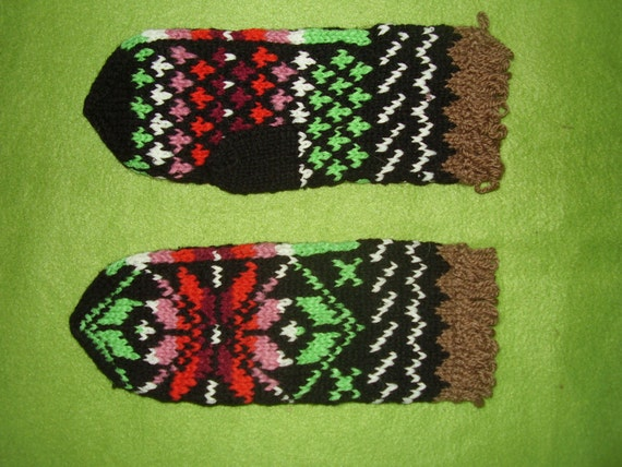 Traditional Lithuanian\/Polish Handknit Mittens