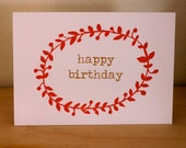 HAPPY BIRTHDAY - screen printed greetings card