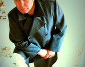 RESERVED FOR leonardworks------Antique SWISS mens grey WOOL coat uniform STUNNING