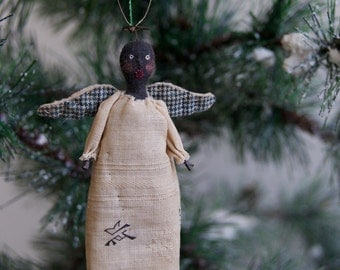 Black Cloth Angel Ornament Named Oh Lawdy