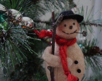 Cotton Batting Snowman Christmas Ornament Named Puff Daddy MADE TO ORDER