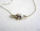 Elephant Necklace , Sterling Silver , Tiny Elephant Charm , Luck , Modern , Everyday Jewelry