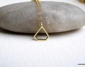 Small Brass Diamond Necklace  on Gold Fill Chain , Simple , Geometric , Everyday Jewelry , Mixed Metal ,Diamond Jewelry