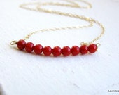 Red Coral Necklace , Gold Necklace ,  Row Coral  Necklace , Gold Fill , Geometric , modern , Everyday Jewelry